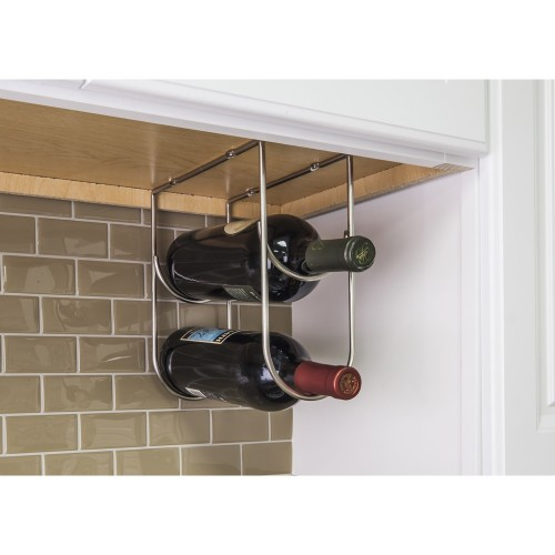 Wine Bottle Holder in Satin Nickel