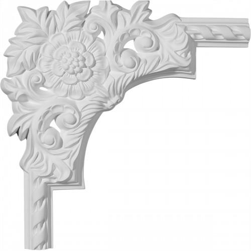 13 3/4W  x 13 3/4H x 1 1/8P Jackson Flower Panel Moulding Corner