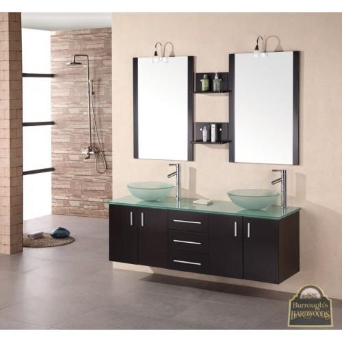 "Portland 61"" Double Sink - Wall Mount Vanity Set in Espresso"