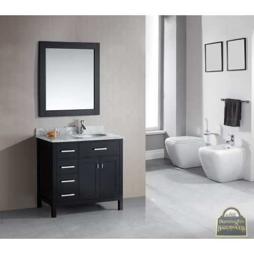 """London 36"""" Single Sink Vanity Set in Espresso Finish with Drawers on the Left"""