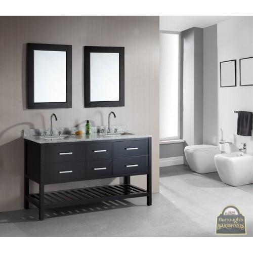 "London 61"" Double Sink Vanity Set in Espresso with Open Bottom"