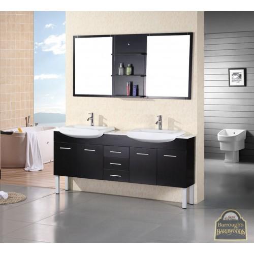 """Belini 72"""" Double Sink Vanity Set in Espresso"""