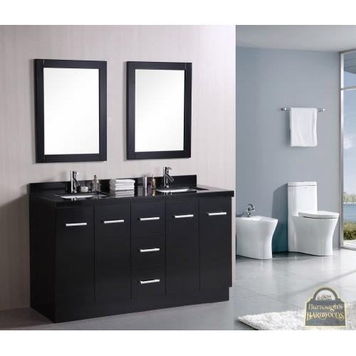 """Cosmo 60"""" Double Sink Vanity Set in Espresso"""