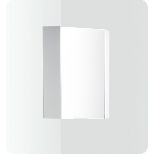 "Fresca Coda 14"" White Corner Medicine Cabinet w/ Mirror Door"