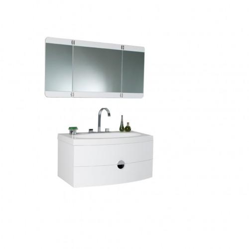 Fresca Energia White Modern Bathroom Vanity w/ Three Panel Folding Mirror