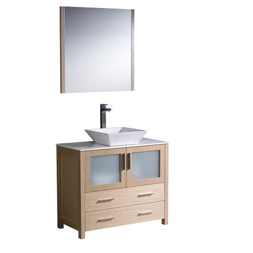 """Fresca Torino 36"""" Light Oak Modern Bathroom Vanity w/ Vessel Sink"""