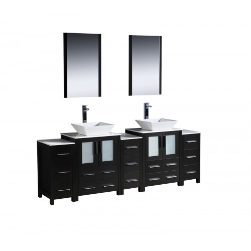 """Fresca Torino 84"""" Espresso Modern Double Sink Bathroom Vanity w/ 3 Side Cabinets & Vessel Sinks"""