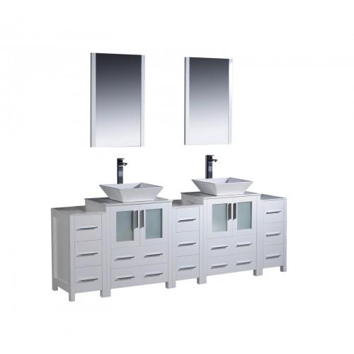 """Fresca Torino 84"""" White Modern Double Sink Bathroom Vanity w/ 3 Side Cabinets & Vessel Sinks"""