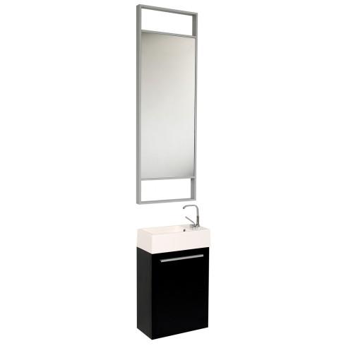 Fresca Pulito Small Black Modern Bathroom Vanity w/ Tall Mirror