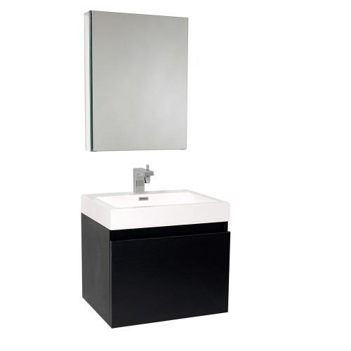 Fresca Nano Black Modern Bathroom Vanity w/ Medicine Cabinet
