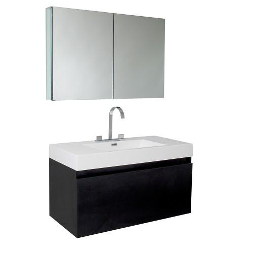 Fresca Mezzo Black Modern Bathroom Vanity w/ Medicine Cabinet