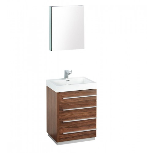 "Fresca Livello 24"" Walnut Modern Bathroom Vanity w/ Medicine Cabinet"