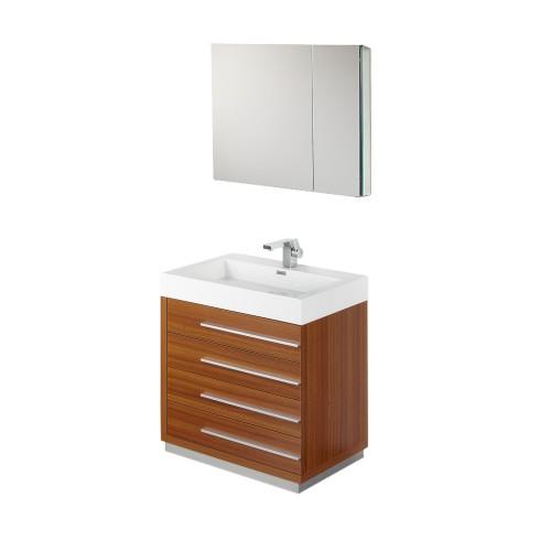 "Fresca Livello 30"" Teak Modern Bathroom Vanity w/ Medicine Cabinet"