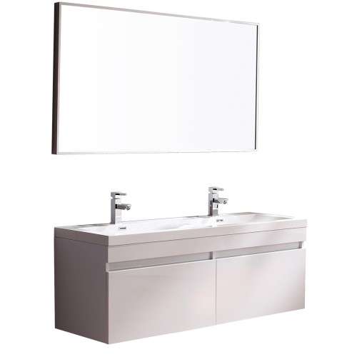 Fresca Largo White Modern Bathroom Vanity w/ Wavy Double Sinks