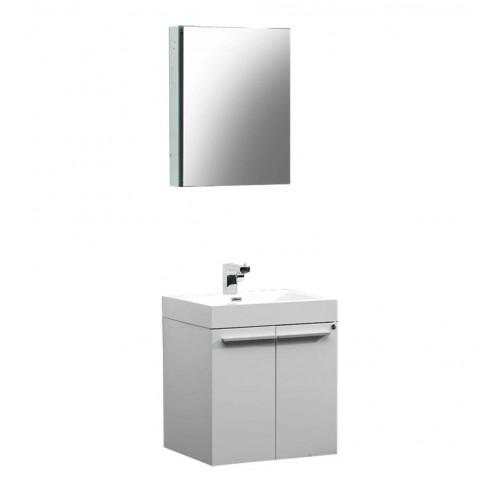 Fresca Alto White Modern Bathroom Vanity w/ Medicine Cabinet