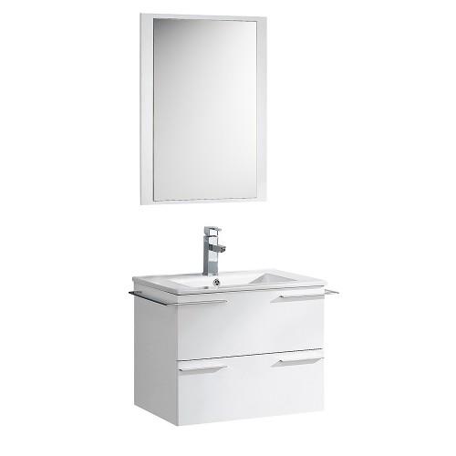 "Fresca Cielo 24"" White Modern Bathroom Vanity w/ Mirror"