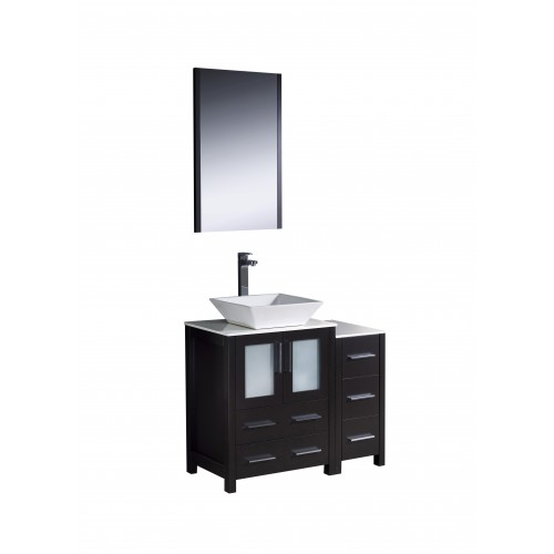 "Fresca Torino 36"" Espresso Modern Bathroom Vanity w/ Side Cabinet & Vessel Sink"