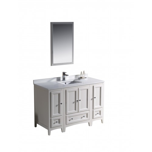 """Fresca Oxford 48"""" Antique White Traditional Bathroom Vanity w/ 2 Side Cabinets"""