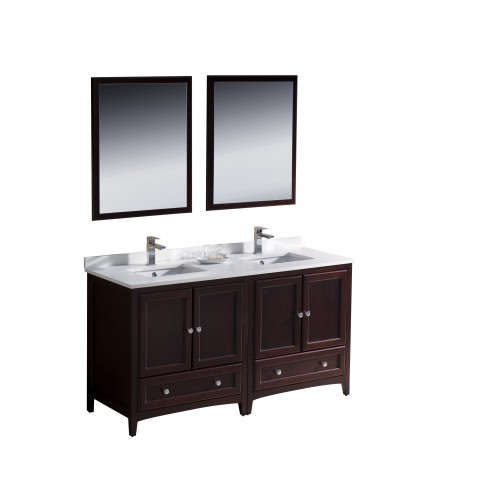 "Fresca Oxford 60"" Mahogany Traditional Double Sink Bathroom Vanity"
