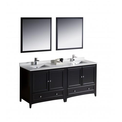 """Fresca Oxford 72"""" Espresso Traditional Double Sink Bathroom Vanity"""