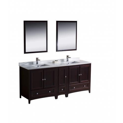 "Fresca Oxford 72"" Mahogany Traditional Double Sink Bathroom Vanity"