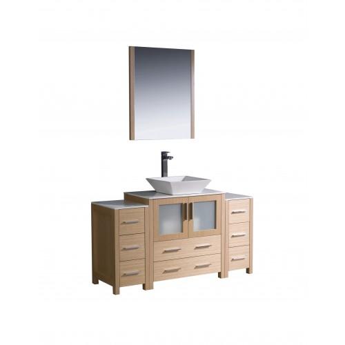 """Fresca Torino 54"""" Light Oak Modern Bathroom Vanity w/ 2 Side Cabinets & Vessel Sink"""