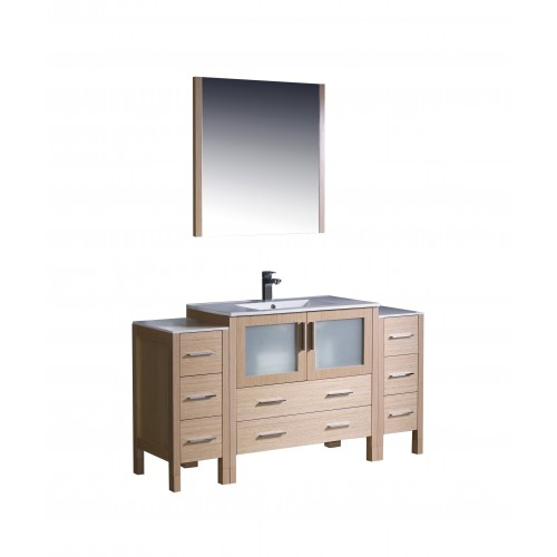 """Fresca Torino 60"""" Light Oak Modern Bathroom Vanity w/ 2 Side Cabinets & Integrated Sink"""