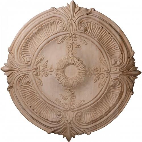 "16""OD x 1 1/8""P Carved Acanthus Leaf Wood Ceiling Medallion"