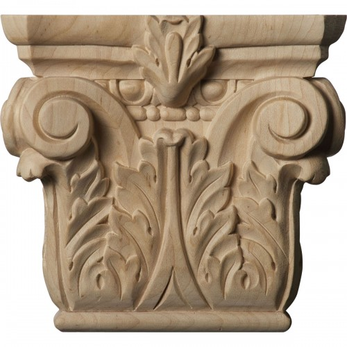 """Small Floral Roman Corinthian Capital (Fits Pilasters up to 3 7/8""""W x 1""""D)"""