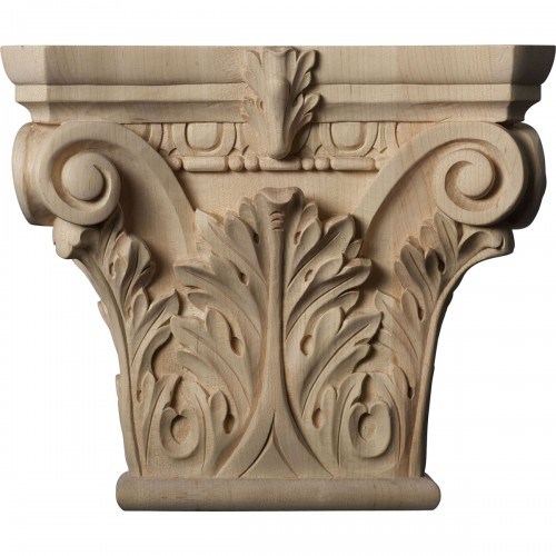 """Large Floral Roman Corinthian Capital (Fits Pilasters up to 6 1/4""""W x 2""""D)"""