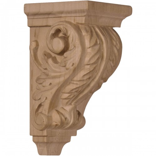 """2 1/4""""W x 2 1/4""""D x 4 1/4""""H Extra Small Acanthus Wood Corbel"""