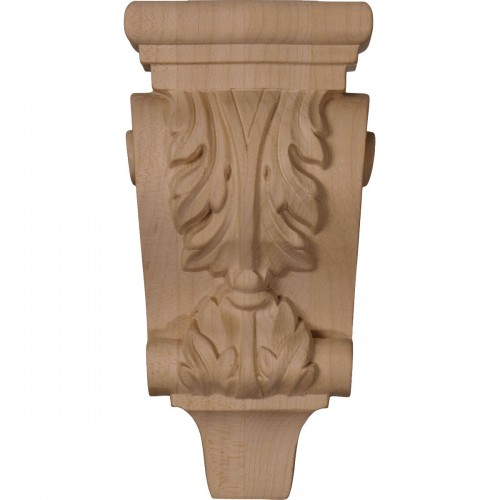 """3""""W x 1 3/4""""D x 6""""H Extra Small Acanthus Pilaster Wood Corbel"""