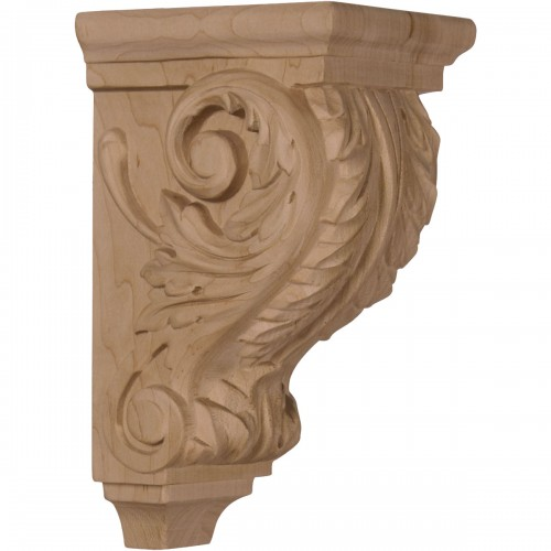 """3 1/2""""W x 4""""D x 7""""H Small Acanthus Wood Corbel"""
