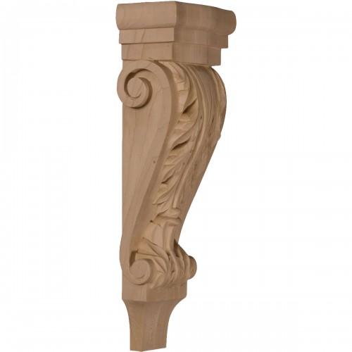 "5 1/8""W x 3 3/8""D x 15 1/2""H Medium Acanthus Pilaster Wood Corbel"