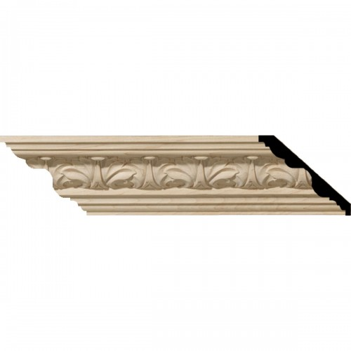 "2 1/8""H x 2 3/8""P x 3 1/4""F x 96""L Acanthus Leaf Carved Wood Crown Moulding"