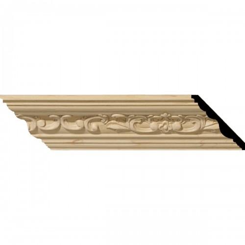 """2 1/4""""H x 2 3/8""""P x 3 1/4""""F x 96""""L Medway Carved Wood Crown Moulding"""