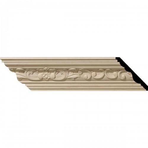 """3 1/2""""H x 3 5/8""""P x 5""""F x 96""""L Medway Carved Wood Crown Moulding"""