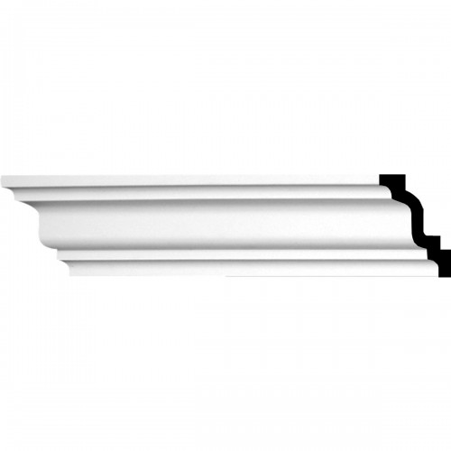 """3""""H x 2""""P x 3 5/8""""F x 94 1/2""""L Lisbon Traditional Smooth Crown Moulding"""