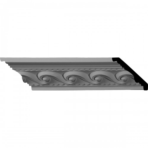 """2 5/8""""H x 2 3/8""""P x 3 5/8""""F x 96""""L, (2"""" Repeat) Marseille French Scroll Crown Moulding"""