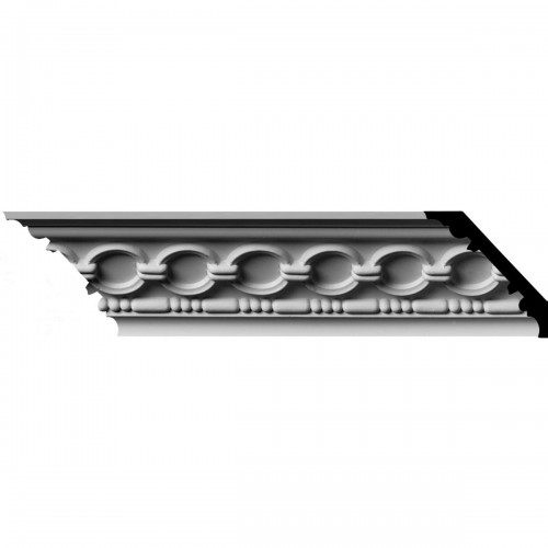 """3 1/8""""H x 3 1/8""""P x 4 1/4""""F x 96""""L, (1 7/8"""" Repeat) Foster Coin & Bead Crown Moulding"""
