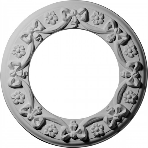 """12 1/4""""OD x 7 1/2""""ID x 7/8""""P Ribbon with Bow Ceiling Medallion"""