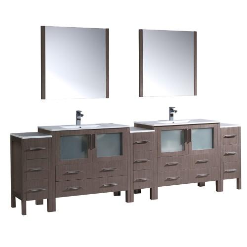 "Fresca Torino 108"" Gray Oak Modern Double Sink Bathroom Vanity- Integrated Sinks"