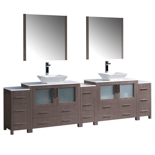 """Fresca Torino 108"""" Gray Oak Modern Double Sink Bathroom Vanity w/ Vessel Sinks"""