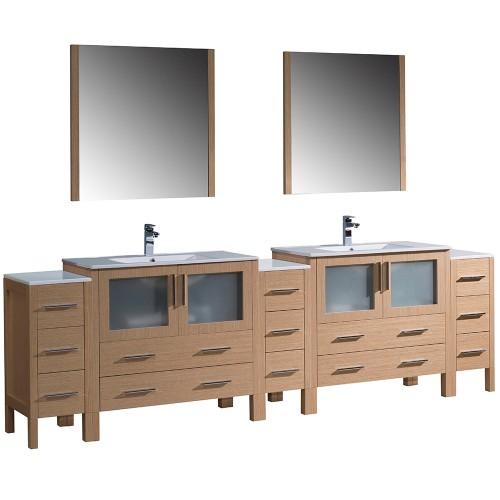"""Fresca Torino 108"""" Light Oak Modern Double Sink Bathroom Vanity Integrated Sinks"""