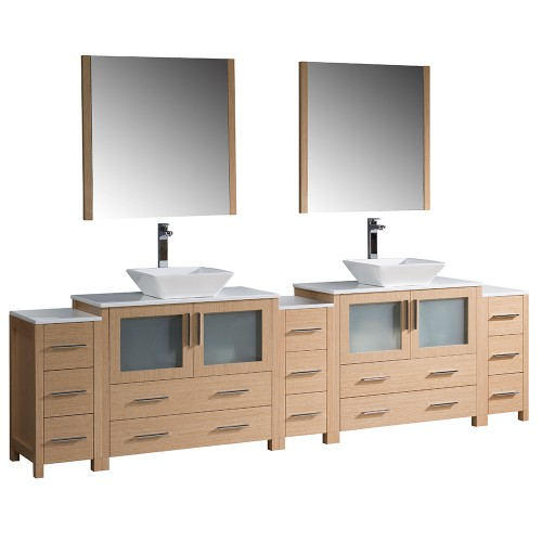 """Fresca Torino 108"""" Light Oak Modern Double Sink Bathroom Vanity w/ Vessel Sinks"""