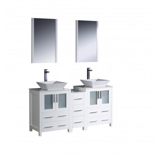 """Fresca Torino 60"""" White Modern Double Sink Bathroom Vanity w/ Vessel Sinks"""