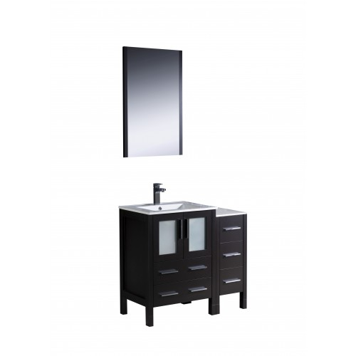 "Fresca Torino 36"" Espresso Modern Bathroom Vanity w/ Integrated Sinks"