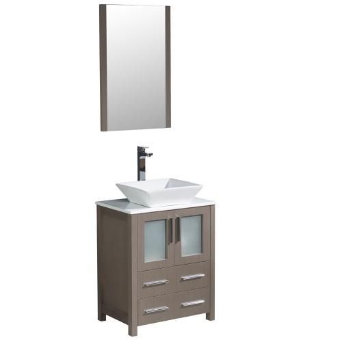 """Fresca Torino 24"""" Gray Oak Modern Bathroom Vanity w/ Vessel Sink"""