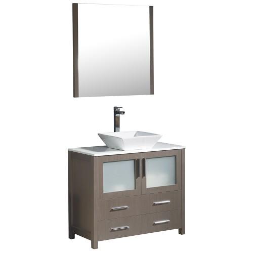 """Fresca Torino 36"""" Gray Oak Modern Bathroom Vanity w/ Vessel Sink"""