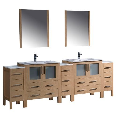 """Fresca Torino 96"""" Light Oak Modern Double Sink Bathroom Vanity- Integrated Sinks"""
